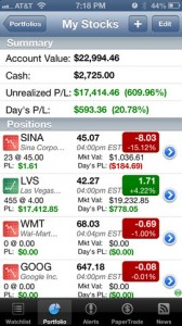 real time stock tracker for iphone